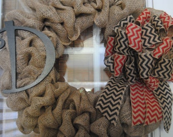 UGA inspired Burlap Initial Wreath with Red and Black Chevron Bow Great wedding Birthday Teacher Gift Anniversary Collegiate Wreath
