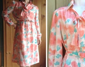 Vintage dress | Schrader Sport coral and teal feminine floral watercolor print shirt dress with belt and bow tie