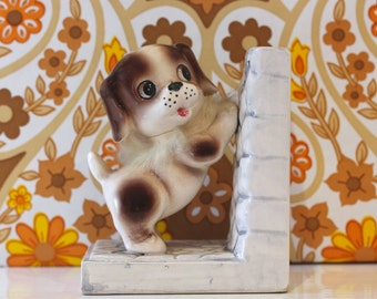 Vintage Pair of Kitsch China Dog Bookends Cute Japan Kawaii