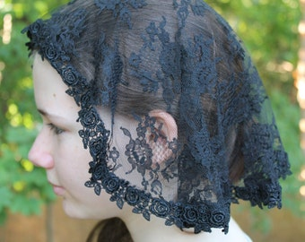 Chapel Veil/ Veiling/ Princess Veil/ Shell Veil/ Catholic Mantilla/ Latin Mass Veil/ Head Covering/ The Emma Veil In Black.