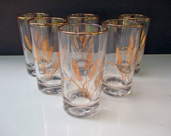 Homer Laughlin Scio China Golden Wheat Pattern - Juice Glasses - Set of 6
