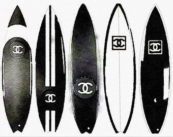 Black & White Surfboard Art Print from Watercolor Painting, Chanel Fashion Illustration, Poster Wall Home Decor