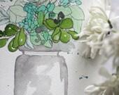 Green Floral Vase - Original Watercolour + Ink Pen Art Drawing - Size A5 - (unframed)