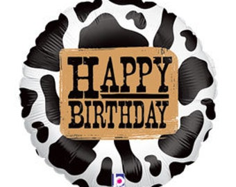 "18"" Happy Birthday Cow print foil balloon air/helium ready to fill DIY, supply & party Favor"