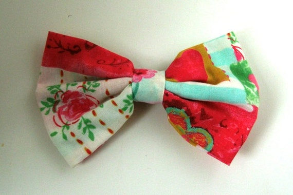 Large Pink, Green, and Gold Patterned Bow