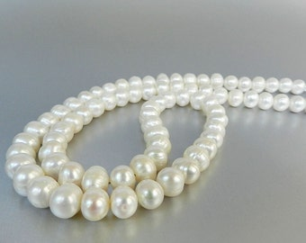 Long Pearl Necklace, Large Freshwater Pearls, Long White Necklace, Pearl Bridal Jewelry, Wedding Pearl Necklace