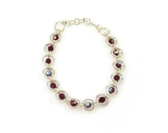 Red Crystal Sterling Silver Bracelet