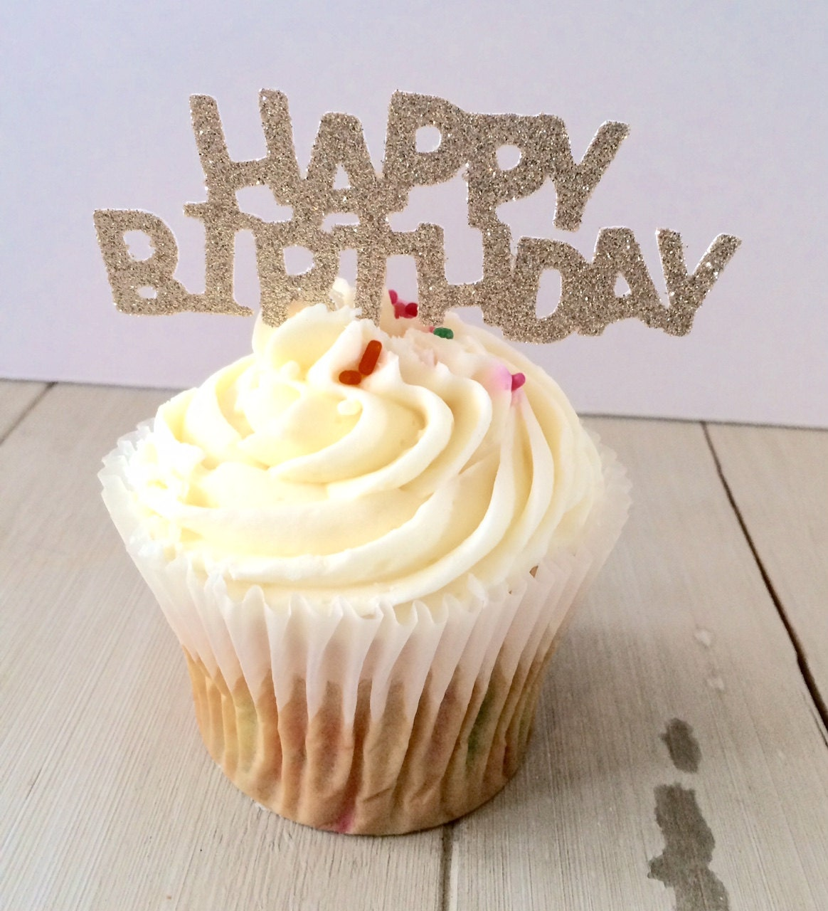 Glitter Happy Birthday Cupcake Topper Party Decorations 12