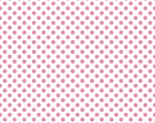 Pink Polka Dot Fabric/White and Pink/Riley Blake/Quilt Stash/Cotton Sewing Material/ Quilts and Clothing/Fat Quarter, By The Yard