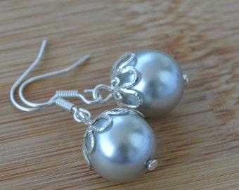 Pearl silver earrings beaded pearl summer jewelry earrings