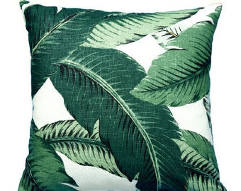 Green Palm Leaf Pillow Cover. All sizes Decorative Throw Pillows. Green Decorative Pillow Fabric front and back Out door