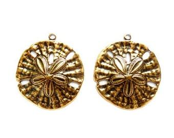 2 Antique Brass Sand Dollar Charms - 21-31-8