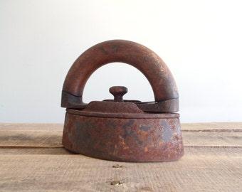Antique Sad Iron with detachable wood handle