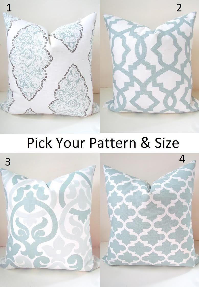 Pillows Mix Amp Match Blue Throw Pillow Covers By