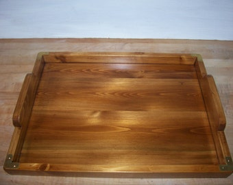 Rustic cedar wood tray colonial brown with brass corners