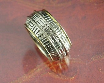 Vintage Silver Wedding Band Ring Men greek Design Wedding Engagement Anniversary size 8 gold trim  mens jewelry