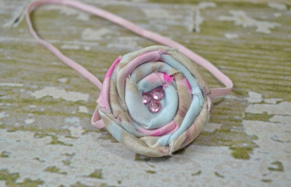 Pink and Blue Fabric Rolled Rose on a Pink Headband,     Newborn Headband, Infant Headband, Newborn Photo Prop