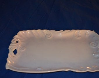 Pretty Vintage White Tray Made in The Czech Republic