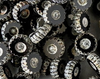 12mm Carved Flower - Czech Glass Daisy Flower Bead - 1625 - Black with Silver Picasso - 10 beads