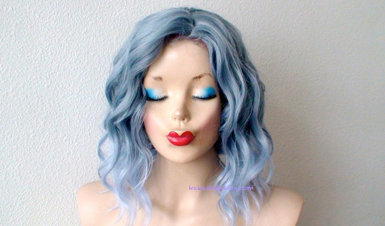 Ombre Wig. Short Wig. Pastel Blue Wig. Beach Wavy Wig. Grayish