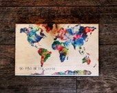 Go Into All the World | Watercolor Map | Christian Sign | Rustic sign | Reclaimed Wood | Farmhouse style sign