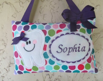 Tooth Fairy Pillow Polka Dots Glittering Personalized