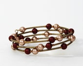 Bordeaux Burgundy and Bronze Beaded Wrap Memory Wire Bracelet - Swarovski Crystal Pearls and Antique Brass Beads - Marsala Accessories