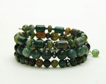 Glossy Moss Green Layered Gemstone Memory Wire Bracelet - Natural Stone Bracelet with Moss Agate, Fancy Jasper and Hematite