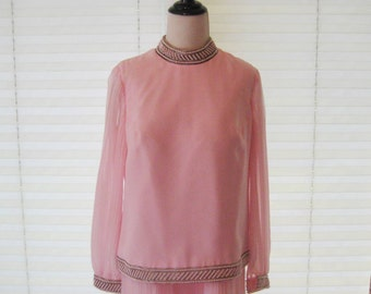 Pink chiffon dress, Jack Bryan dress, avant garde, size medium to large, 60s 70s formal party dress