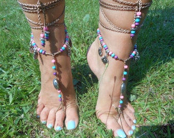 Crochet Barefoot Sandals Beach Wedding  Yoga Shoes Foot Jewelry  Pink Blue Purple Silver