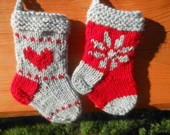 Mini Christmas Stockings Hand Knitted Set of 2 Christmas Gift Christmas Decoration Stocking Ornament
