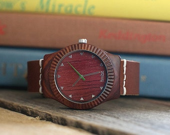 Wood Watch Men, Real Wood Watch, Rosewood Unisex Watch - ARBR-RS