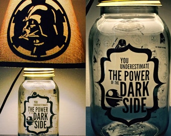 Darth Vader inspired Mason Jar Character Lamp