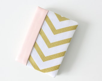 Card Holder Wallet with Metallic Gold Chevron and Pink Faux Leather