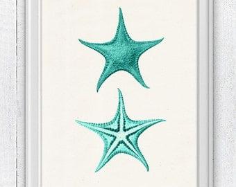 Starfish in aqua color seaside print - Aqua Print wall decor  , Sea foam sea life print -Marine  sea life illustration A4 print SPA069