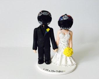Bride and groom wearing biker helmet wedding cake topper- Custom made bride and groom wedding cake topper