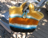 Multi colored felted bag from Navajo Churro wool