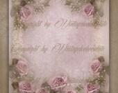 Shabby Rose Digital Collage, Soft Pink Rose Digital Vintage Paper, Shabby Chic Announcement Paper, Lilac Vintage Scrapbook Paper. No 501