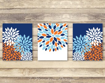 Flower Bursts Botanicals Dahlia Art Print Set of (3) 5 x 7, 8 x 10 OR 11 x 14 // Orange, Navy, Light Blue // Modern Floral Wall