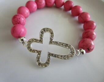 Sideways cross semi precious stone pink howlite bead bracelet with clear diamond style encrusted side cross, side cross bracelet, howlite