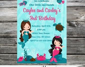 DIY Personalized Invitation: Lovely Mermaids -Digital Invitation by Serendipity Celebrations -You Print -Printable Invite