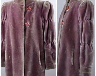 1980's Purple Faux Fur Coat