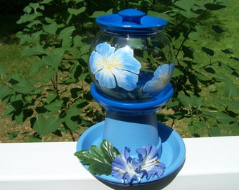 Blue Morning Glory Clay Pot Covered Glass Votive Holder