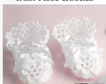 baby crochet pattern for    pattern to make stunning baby irish rose booties one size 0/3m   thread size 10