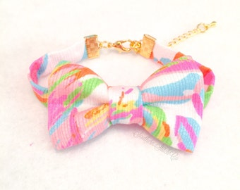 "Bow Bracelet with Lilly Pulitzer ""Scuba to Cuba"" - VERY LIMITED"