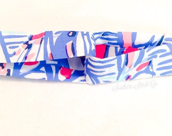 """Turban Style Headband in Lilly Pulitzer """"Red Right Return"""" Fabric"""