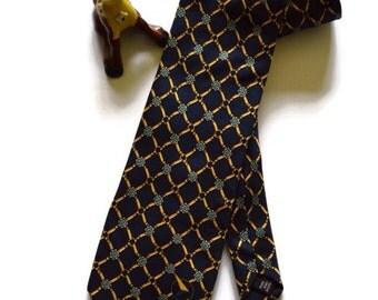Vintage 1980's Civil Aviation Tie Australia Blue Gold Baroque Style Retro Souvenir Tie