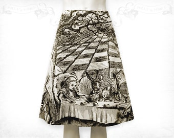 Alice in Wonderland Mad Tea Party cotton flared skirt~ Ivory