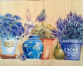 4 Decoupage napkins. Lavender and herbs. Purple, blue and lilac shades. 13'' by 13'' (33 x 33 cm) Paper napkins / serviettes. Crafting.