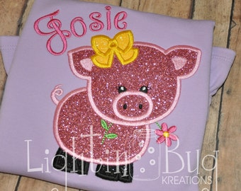 Monogrammed/Personalized Pig Applique Shirt